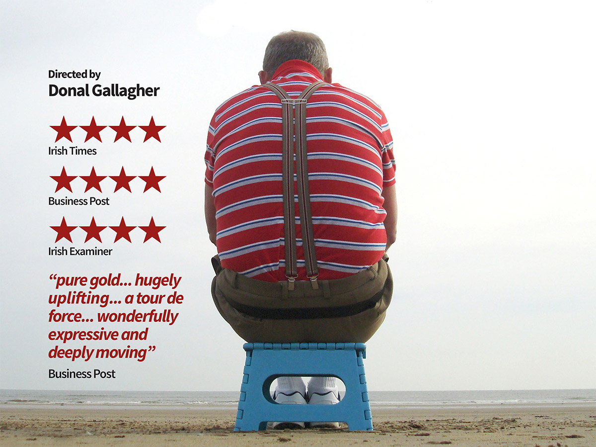 Main character with his back to us sitting cutely on small blue box and staring out to sea. 4 star reviews overlaid on image.